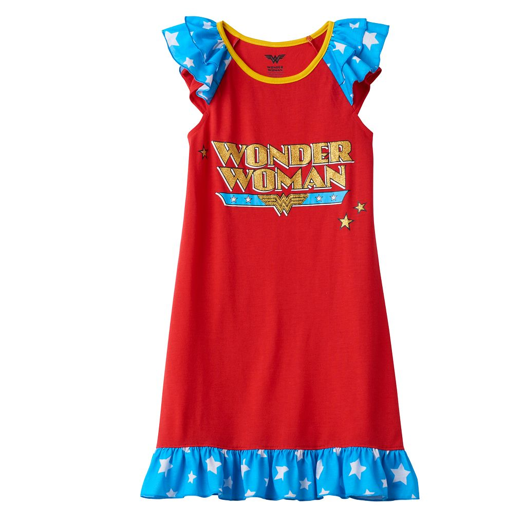 Girls 4-12 DC Comics Wonder Woman Ruffle Dorm Nightgown