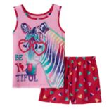 "Girls 4-16 4D Interactive Zebra ""Be You Tiful"" Pajama Set"
