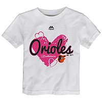 Toddler Majestic Baltimore Orioles Heart Tee