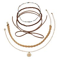 Mudd® Stretch, Tie, Cutout & Medallion Charm Choker Necklace Set