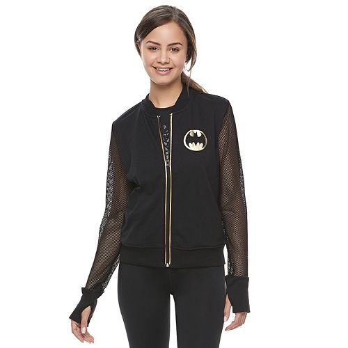 "Juniors' Her Universe Batman Mesh ""I Am The Knight"" Bomber Jacket by DC Comics"