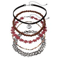 Mudd® Red Flower, Bead & Tattoo Choker Necklace Set