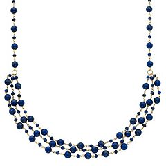14k Gold Lapis Lazuli Beaded Swag Necklace