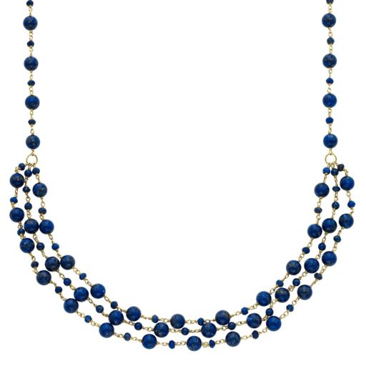 14k Gold Lapis Lazuli Beaded Swag Necklace
