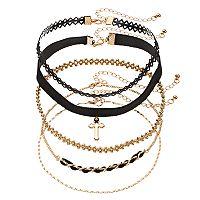 Mudd® Cross, Chain & Braided Choker Necklace Set