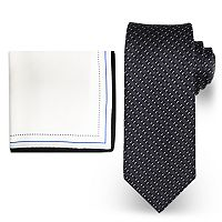 Big & Tall Steve Harvey Extra Long Micro Neat Tie & Solid Pocket Square Set