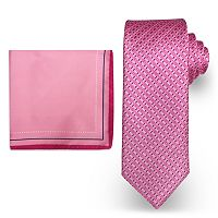 Big & Tall Steve Harvey Extra Long Micro Neat Tie & Solid Pocket Square Set