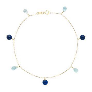 14k Gold Lapis Lazuli & Blue Topaz Beaded Anklet