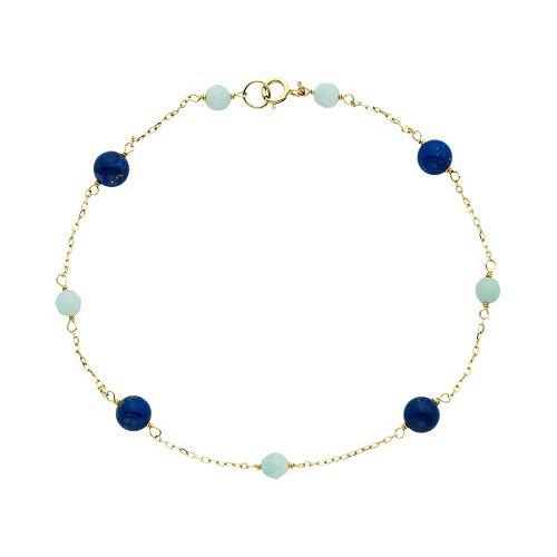 14k Gold Lapis Lazuli & Amazonite Beaded Anklet