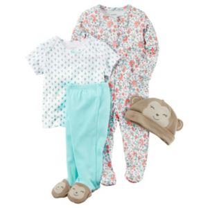 Baby Girl Carter's Print Sleep & Play, Print Tee, Footed Pants & Hat Set