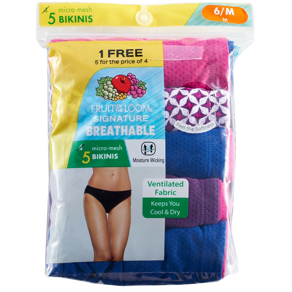 Fruit of the Loom Breathable Micro Mesh 4-pack + 1 Bonus Bikini Panties 5DBKBIK