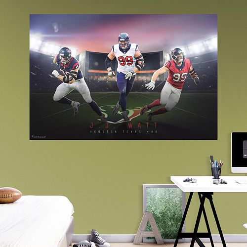 Houston Texans J.J. Watt Montage Mural Wall Decal by Fathead