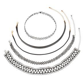 Mudd® Tattoo, Lace & Faux Leather Choker Necklace Set