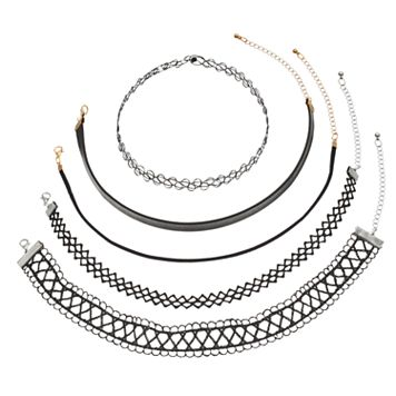 Mudd® Tattoo, Lace & Faux Leather Choker Necklace Set