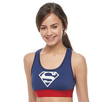 Juniors' Her Universe Superman Racerback Graphic Sports Bra by DC Comics