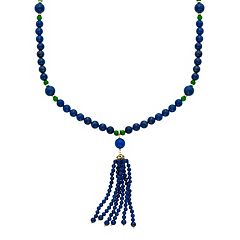 14k Gold Lapis Lazuli & Jade Beaded Tassel Necklace