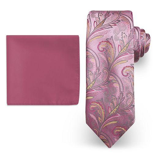 437579fe76e4c Big & Tall Steve Harvey Extra Long Paisley Tie & Solid Pocket Square Set