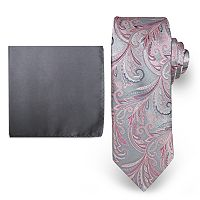 Big & Tall Steve Harvey Extra Long Paisley Tie & Solid Pocket Square Set