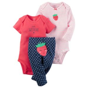 Baby Girl Carter's Striped Bodysuit, Graphic Bodysuit & Print Pants Set