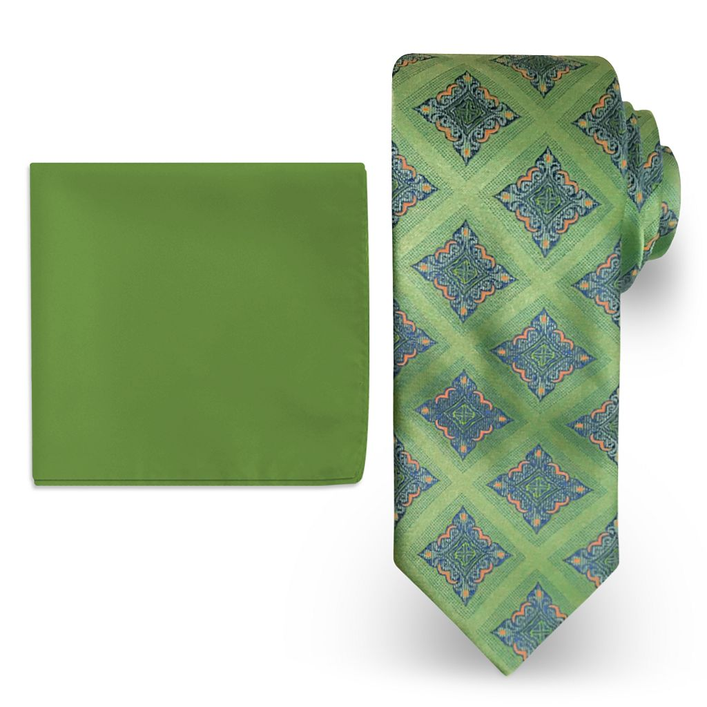 Big & Tall Steve Harvey Extra Long Medalion Tie & Solid Pocket Square Set