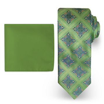 Big & Tall Steve Harvey Extra Long Medalion Tie & Solid Pocket Square Set