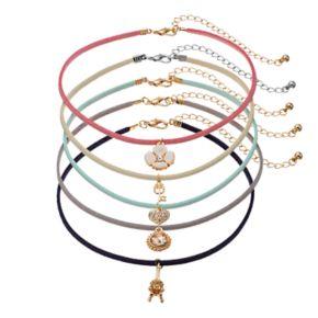 Mudd® Flower, Key, Heart & Giraffe Pendant Choker Necklace Set