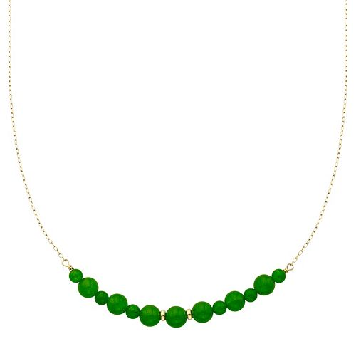 14k Gold Jade Beaded Necklace