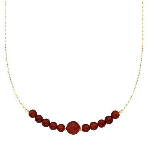 14k Gold Carnelian Beaded Necklace