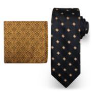Big & Tall Steve Harvey Extra Long Grid Tie & Pocket Square Set