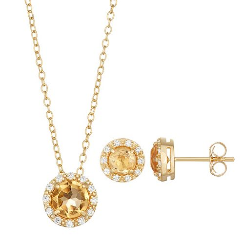 18k Gold Over Silver Citrine & Cubic Zirconia Halo Pendant & Stud Earring Set