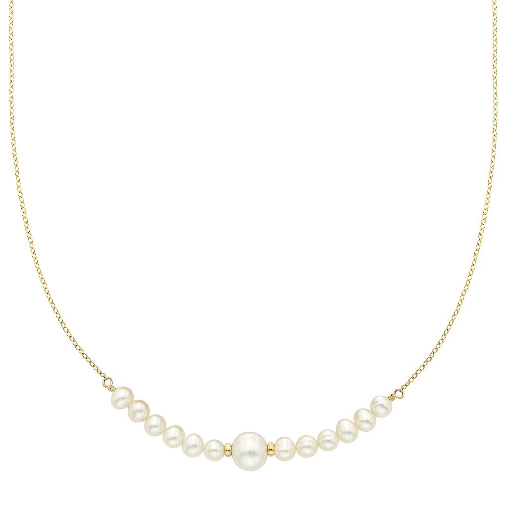 14k Gold Freshwater Cultured Pearl Beaded Necklace