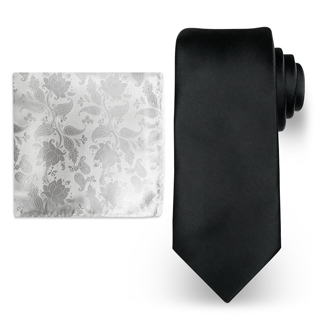 Big & Tall Steve Harvey Extra Long Solid Tie & Scroll Pocket Square Set