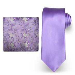 Big & Tall Steve Harvey Extra Long Solid Tie & Scroll Pocket Square Set