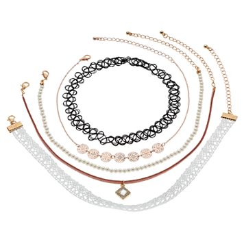 Mudd® Lace, Medallion, Simulated Pearl & Tattoo Choker Necklace Set