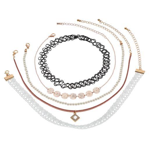 Mudd® Lace, Medallion, Simulated Pearl & Tattoo Choker Necklace Set