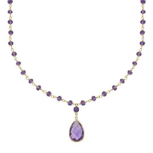 14k Gold Amethyst Beaded Y Necklace