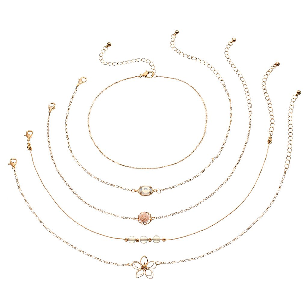 Mudd® Rosette & Wire Flower Choker Necklace Set