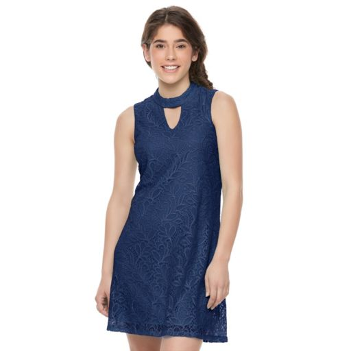 Juniors' Lily Rose Lace Cutout Shift Dress