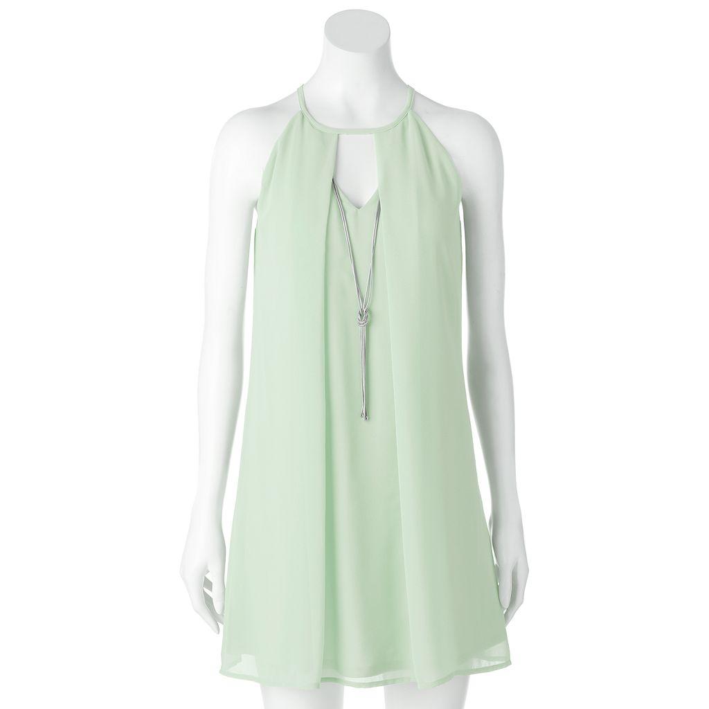 Juniors' Lily Rose Choker Shift Halter Dress