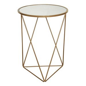 HomePop Geometric Gold Finish End Table