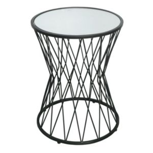 HomePop Mirrored Black Metal End Table