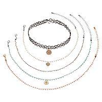 Mudd® Flower & Heart Charm Seed Bead Choker Necklace Set