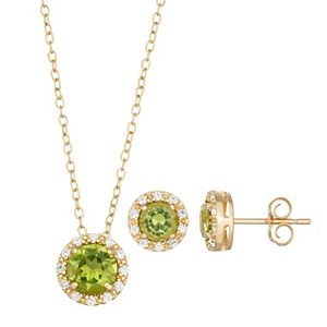 18k Gold Over Silver Peridot & Cubic Zirconia Halo Pendant & Stud Earring Set