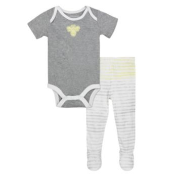 Baby Boy Burt's Bees Baby Organic Bodysuit & Striped Footed Pants Set
