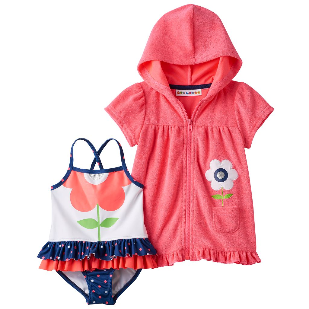 Baby Girl Wippette Flower One-Piece Swimsuit & French Terry Cover-Up