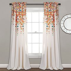 Half Moon 2-pack Weeping Flowers Window Curtains