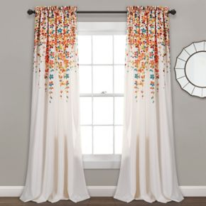 Half Moon Weeping Flowers Window Curtain Set