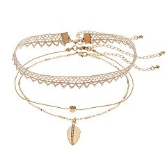 Mudd® Leaf Pendant Choker Necklace Set