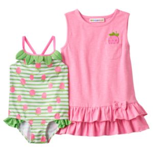 Baby Girl Wippette Strawberry Cover Up & One-Piece Swimsuit Set