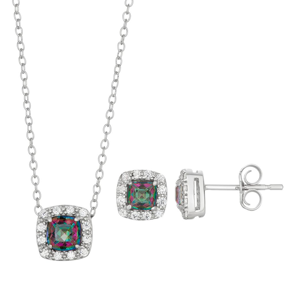115d8464b47 Sterling Silver Mystic Fire Topaz & Cubic Zirconia Cushion Halo Pendant &  Stud Earring Set